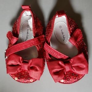 Baby Red shimmery shoes